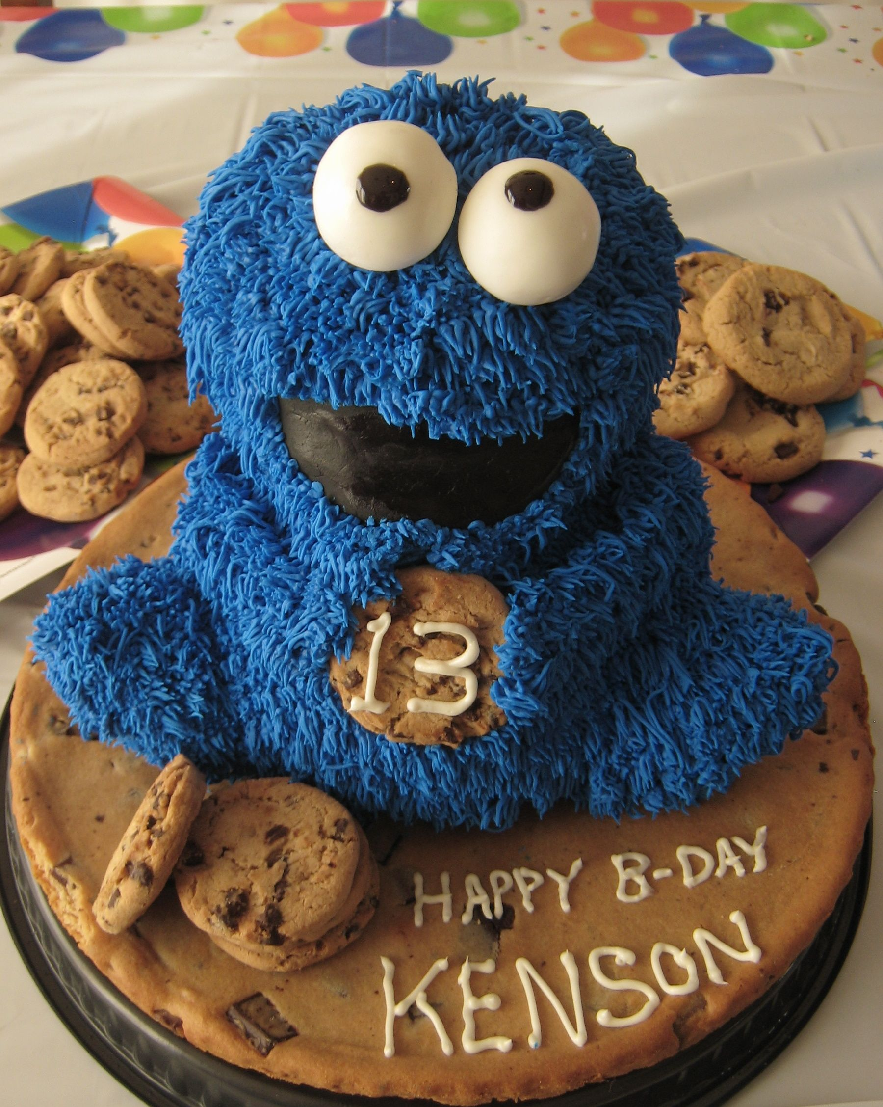 cookie monster cake cookie birthday cake made at home with wilton 3d 3039
