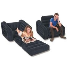 Single Pull Out Sofa Inflatable Air Bed With Leg Rest And Pump