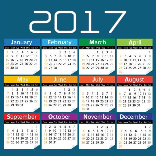 2017 Colored Calendar With Blue Background Vector