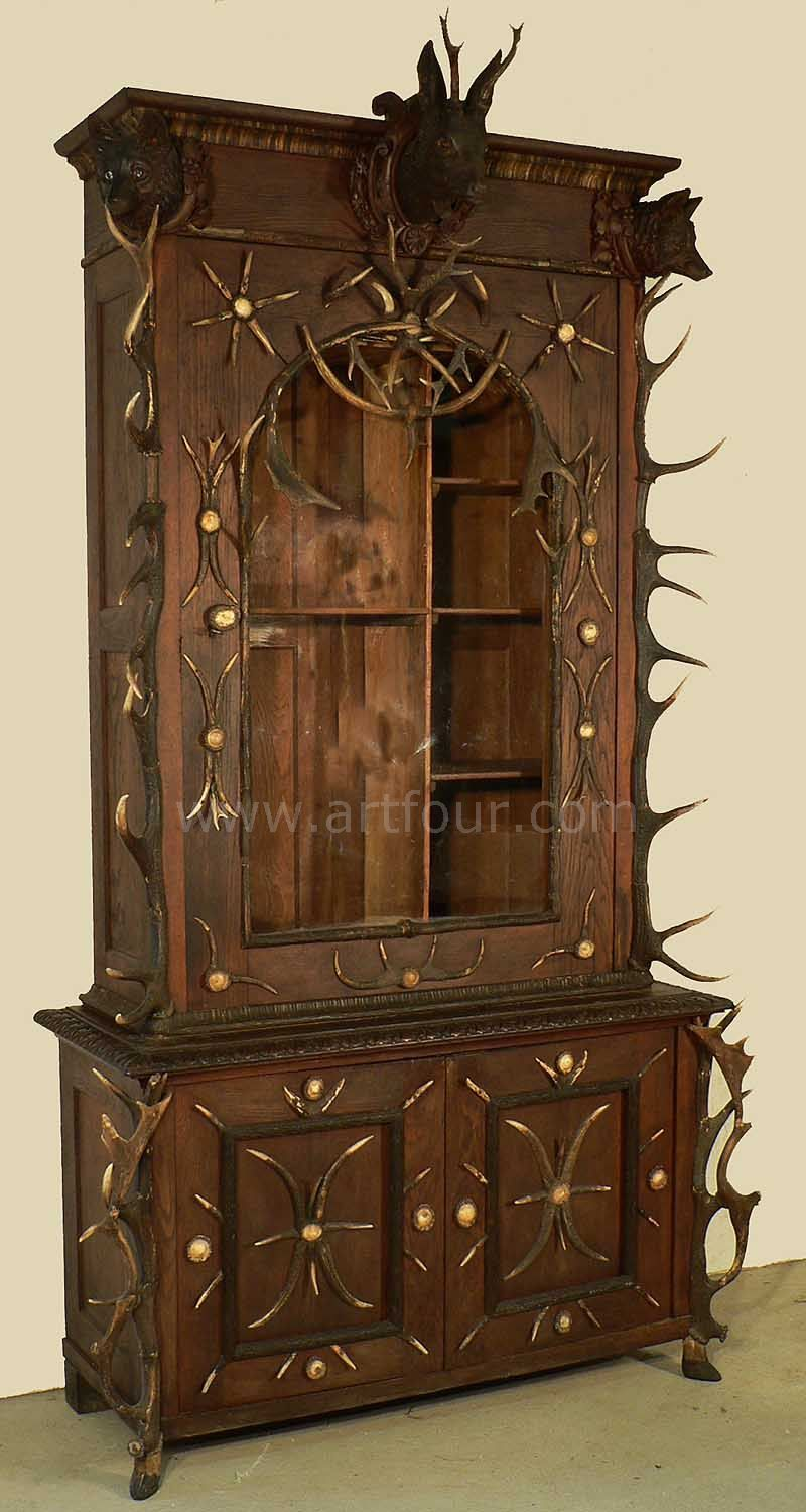 great antler gun cabinet bohemia ca. 1870 - Great Antler Gun Cabinet Bohemia Ca. 1870 Antler Furniture