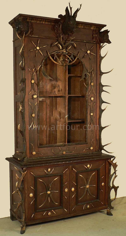 great antler gun cabinet bohemia ca. 1870 - Great Antler Gun Cabinet Bohemia Ca. 1870 Antler Furniture