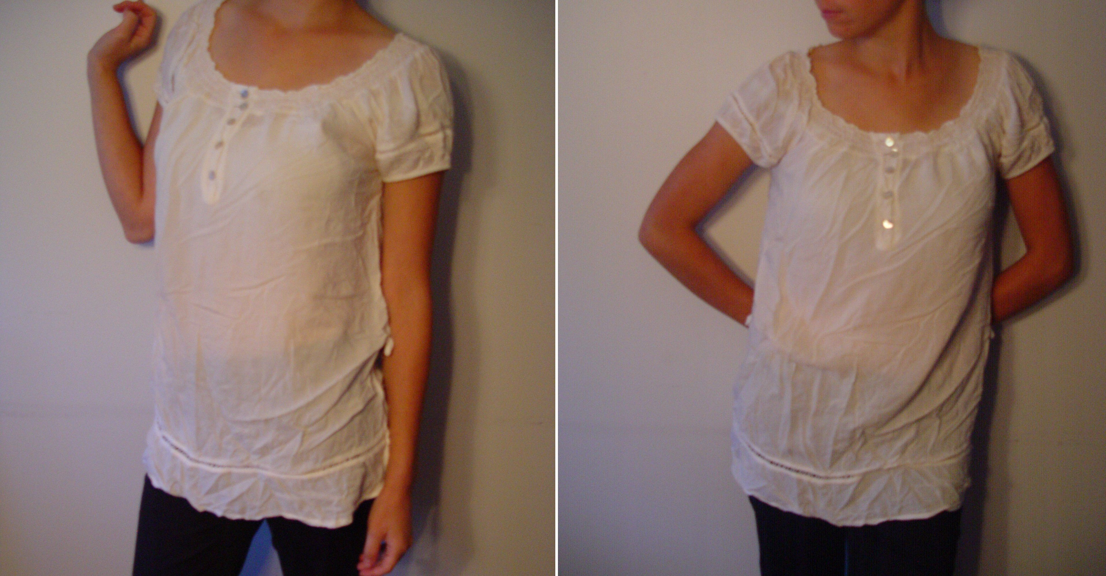 White Cotton Blouse, made in Italy. 100% Viscose. M.