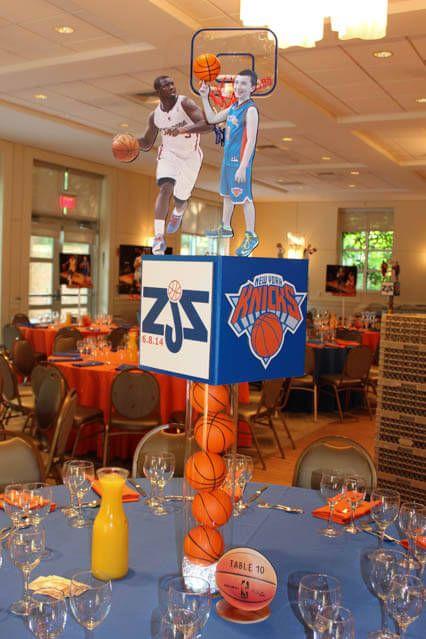 Basketball themed centerpiece knicks themed bar mitzvah for Basketball craft party ideas