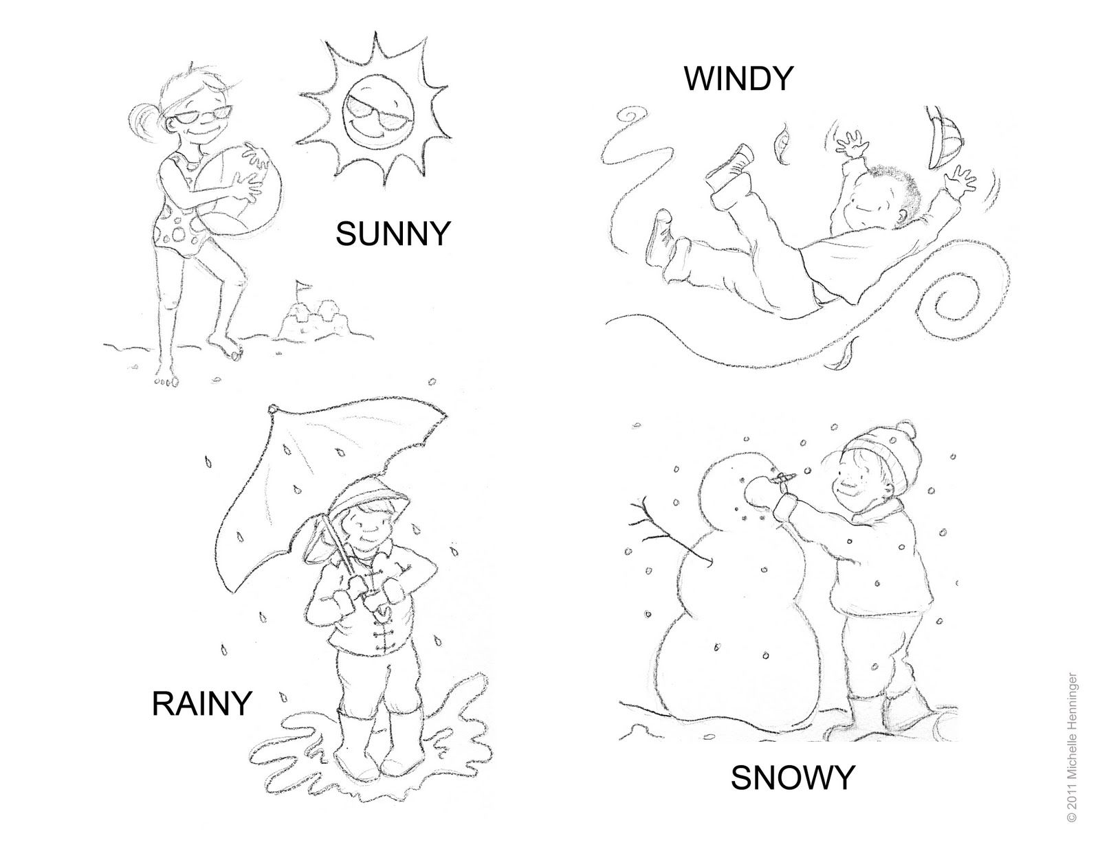 Weathercoloring page worksheets Weather worksheets