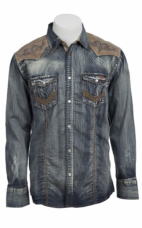 a86eb24b Roar Men's Hands on Denim with Contrast Yoke Long Sleeve Western Shirt