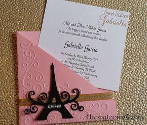 Paris Invitation Quinceanera Invitation Invitation Eiffel