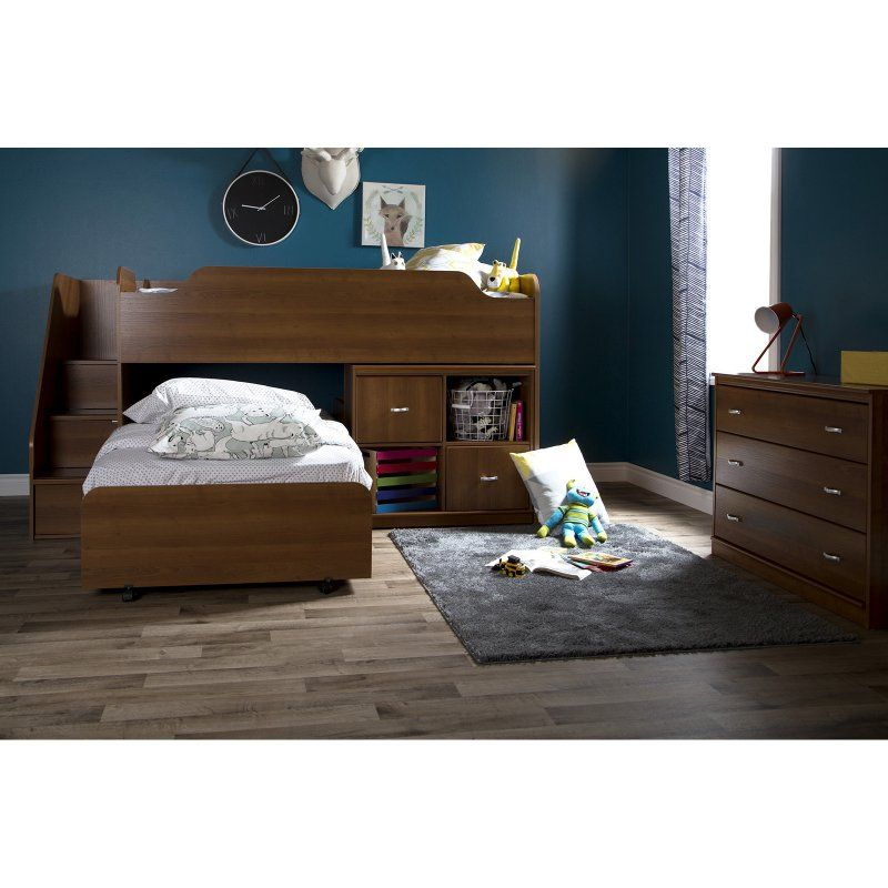 South Shore Cherry Twin Loft Bed with Trundle and Storage Unit