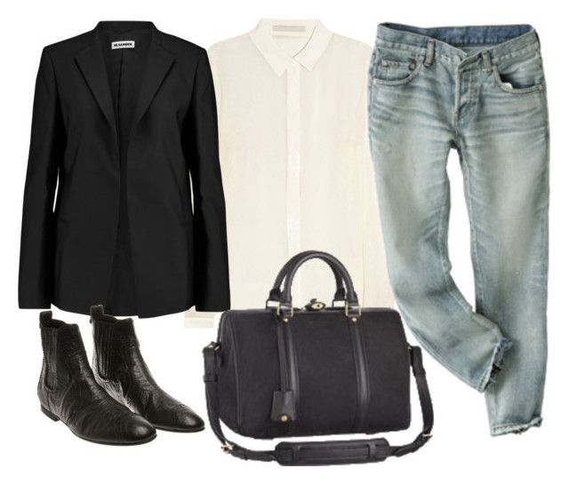 """""""Untitled #281"""" by bojana-687 ❤ liked on Polyvore featuring Jason Wu, Jil Sander, Louis Vuitton, Balenciaga, black, Boots, bag and jeans"""