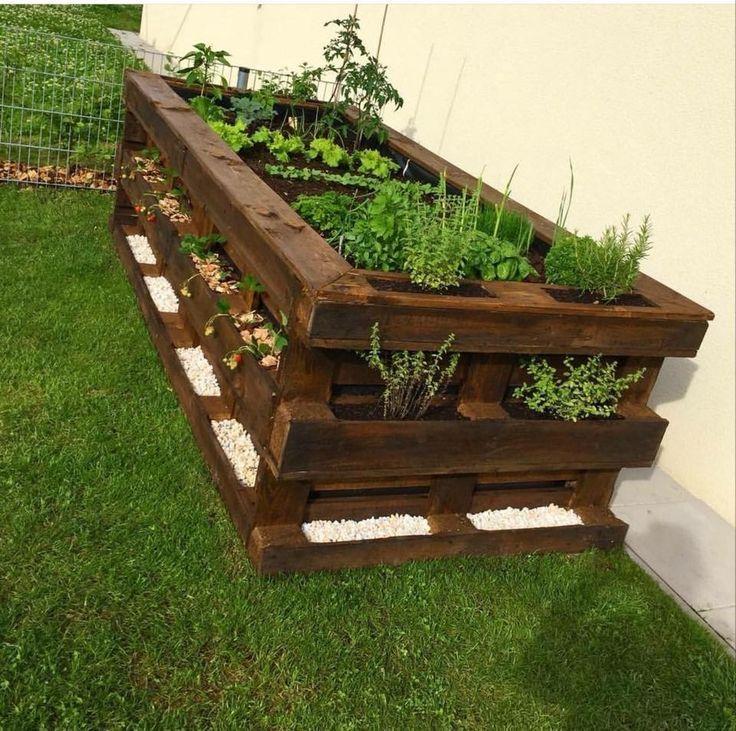 Paletten DIY Hochbeet – Terrasse ideen