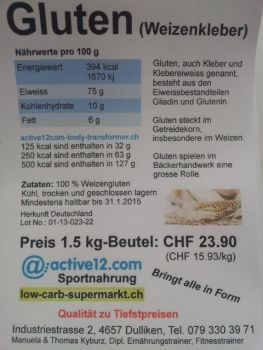 NEU FUER WIEDERVERKAEUFER: Gluten spielen im Bäckerhandwerk eine grosse Rolle - jetzt neu auch für Händler/Wiederverkäufer mit Nettopreis im Angebot, mehr dazu auf: http://www.active12.ch/info/Wiederverkaeufer---Haendler.html