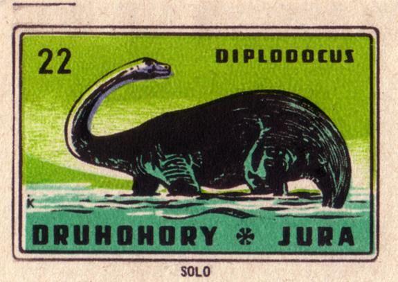 Czechoslavic matchbox label Diplodocus