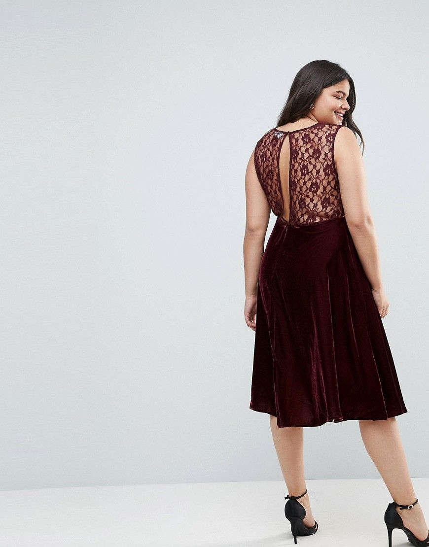 094018db6c3f CURVE Lace Insert Velvet Paneled Midi Dress | Products | Lace insert ...