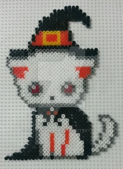 halloween cat perler beads by cielhargreaves perler beads. Black Bedroom Furniture Sets. Home Design Ideas