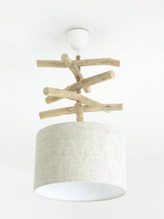 Driftwood exotic leaves lamp shade chandelier cylinder 28 cm