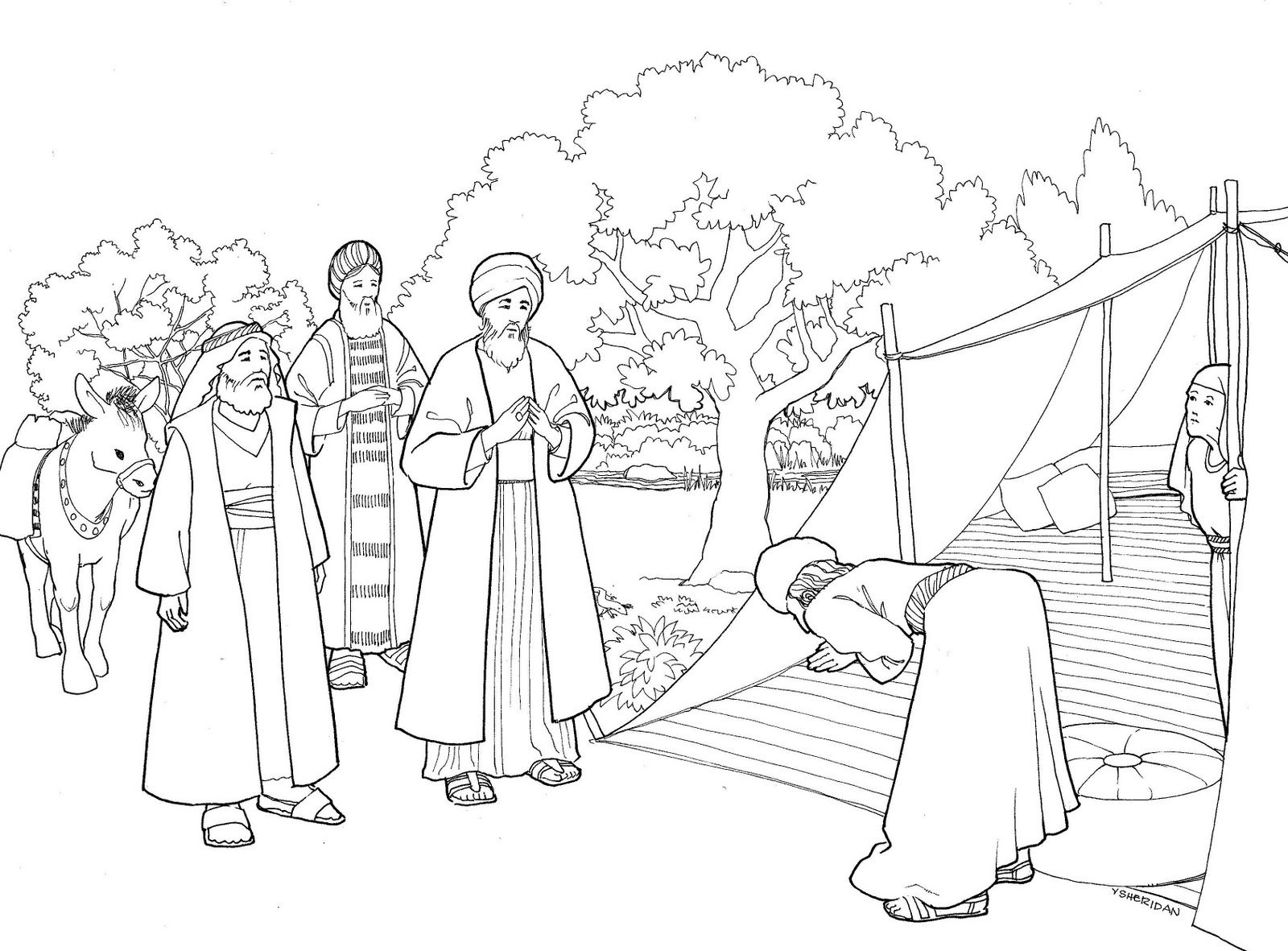 Abraham And Three Visitors Coloring Page Bible Coloring Pages