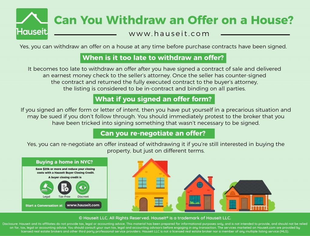 Can I Change My Mind If I Put An Offer On A House Purchase Contract Offer Withdrawn