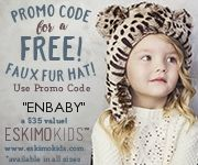 I love these sweet hats!  Use the Promo code for a FREE Faux Fur Hat! This is a $35 value, but you just have to pay shipping!  Use Code ENBABY!  I am certain you know someone who would look adorable in this hat! http://ifreesamples.com/eskimo-kids-free-faux-fur-hat-just-pay-shipping/