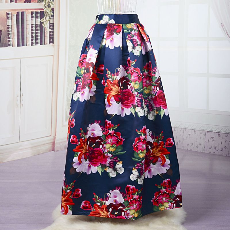 Find More Skirts Information about Women Floral Maxi Skirt ...
