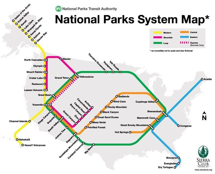This transit style map from the Sierra Club shows the national parks