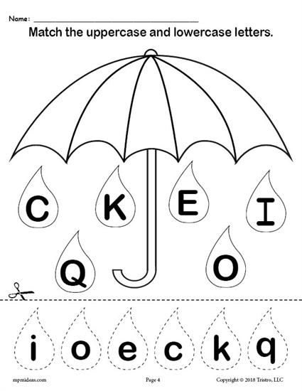 FREE Raindrop Letter Case Matching Worksheets A Z