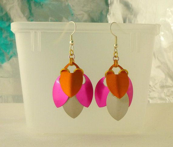 Orange Pink and Platinum Scale Maille Earrings  2 by EcceRose, $10.00