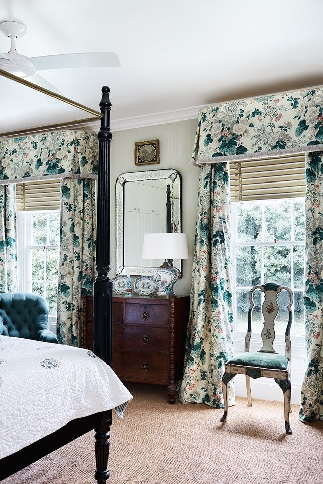 Beautiful Chintz Drapes In This Classic Bedroom