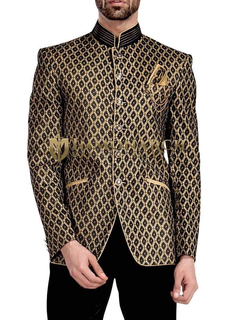 38b15684f2 Mens Golden 4 Pc Jodhpuri Suit 6 Button | Jodhpuri suit wedding for ...