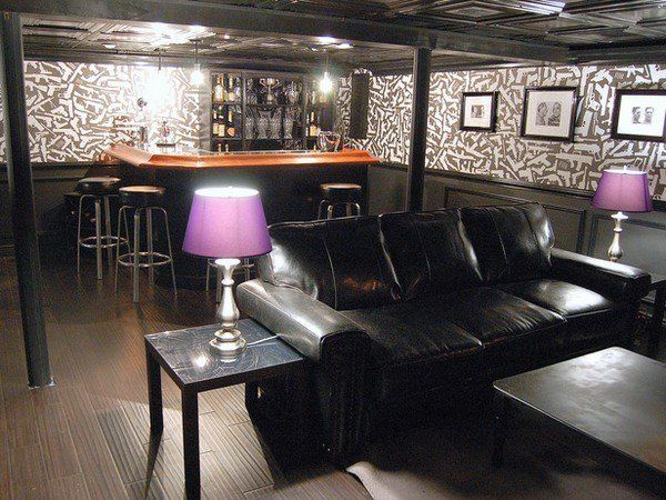 Ultimate Man Cave Show : Small man cave design ideas home bar black leather sofa table lamps