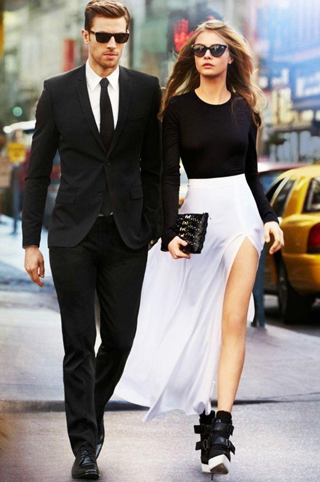 Photo of Black and white stylish couple cute engagment photo theme