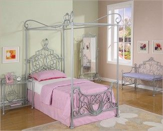 Powell Furniture Princess Emily Carriage Canopy Twin Bed In White | Girly  Girl | Pinterest | Powell Furniture, Twin Beds And Canopy