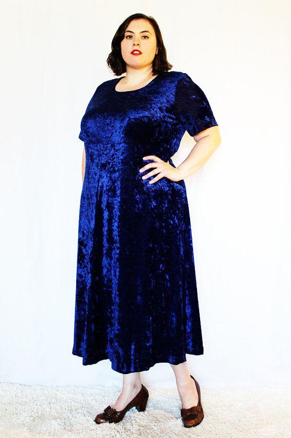 Plus Size Vintage Royal Blue Crushed Stretch Velvet Midi Dress