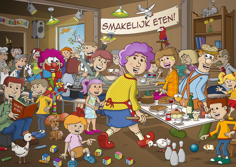 Illustratie Voor Een Placemat Ontworpen In Opdracht Van Kinderspeeltuin Sloebieland Uit Wielsbeke Belgie Ook Verkri Illustratie Illustrator Kleurplaten