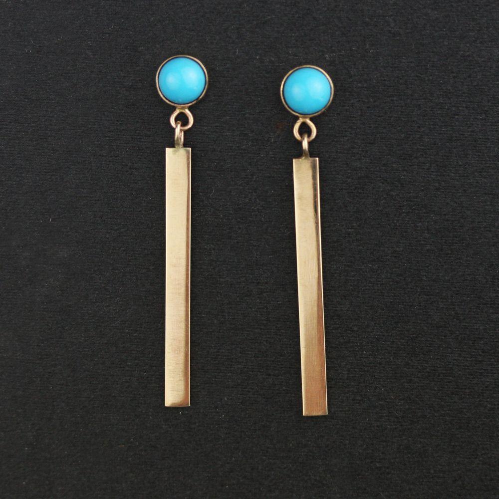 Handmade Solid 14k Gold Stud And Bar Dangle Earrings