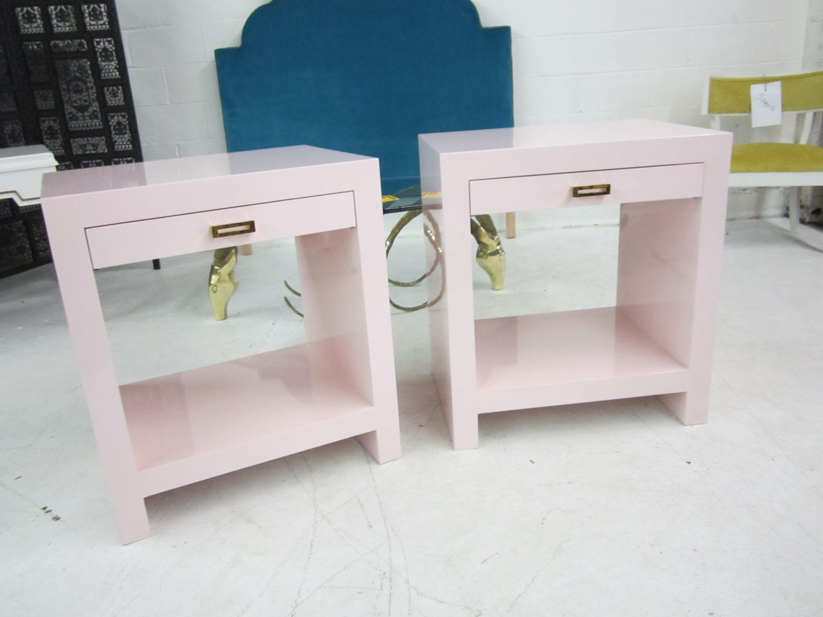lacquered nightstands with brass hardware again again custom