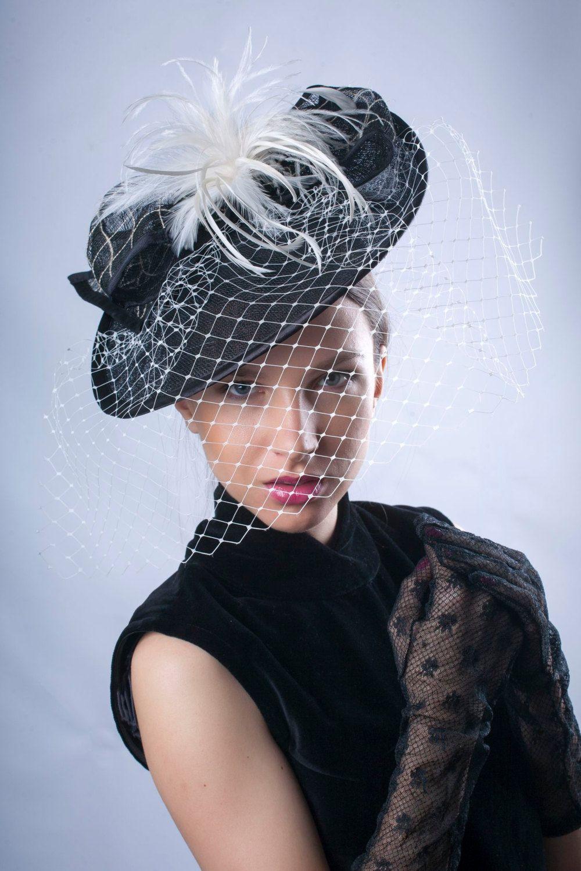 614e7a9562b1a Derby fascinator hat, Elegant fascinator hat, black white headpiece ...