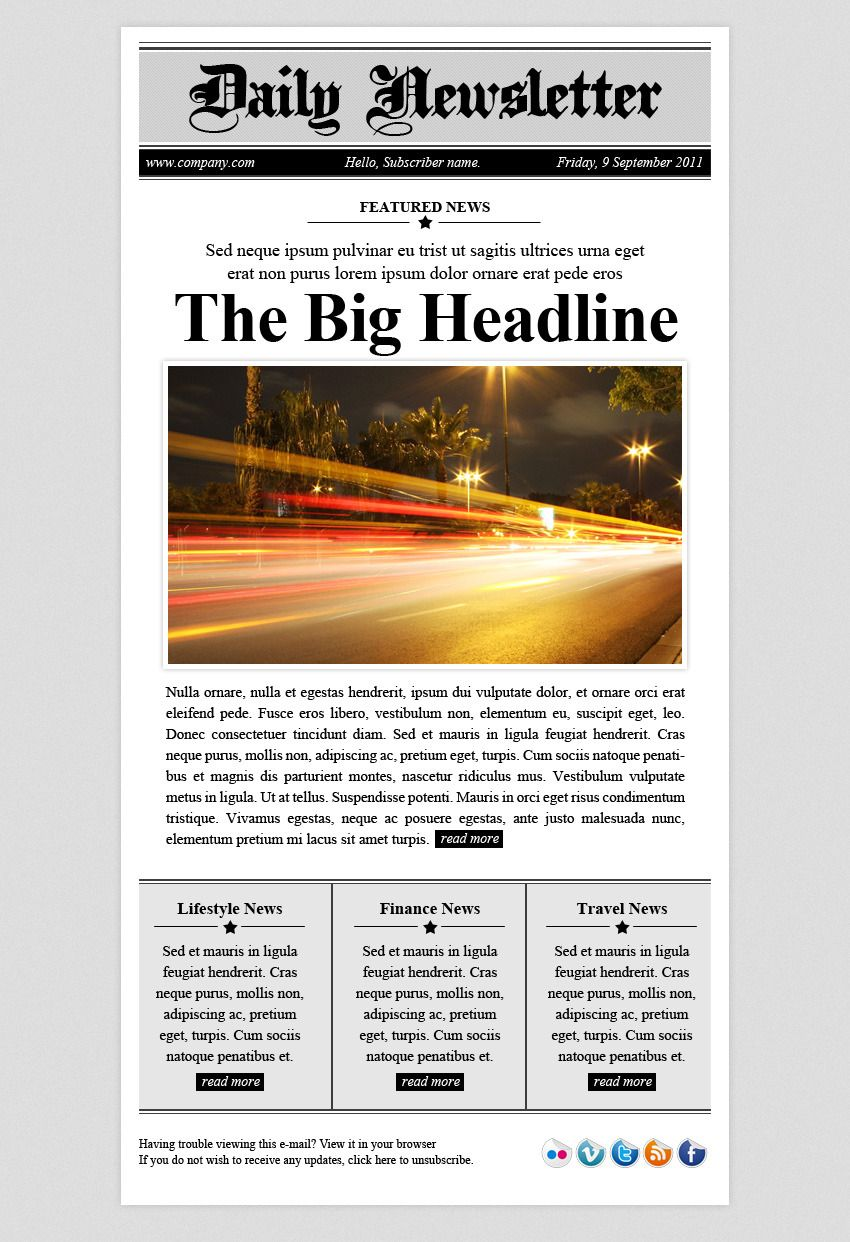 daily newsletter html email template newsletter daily html