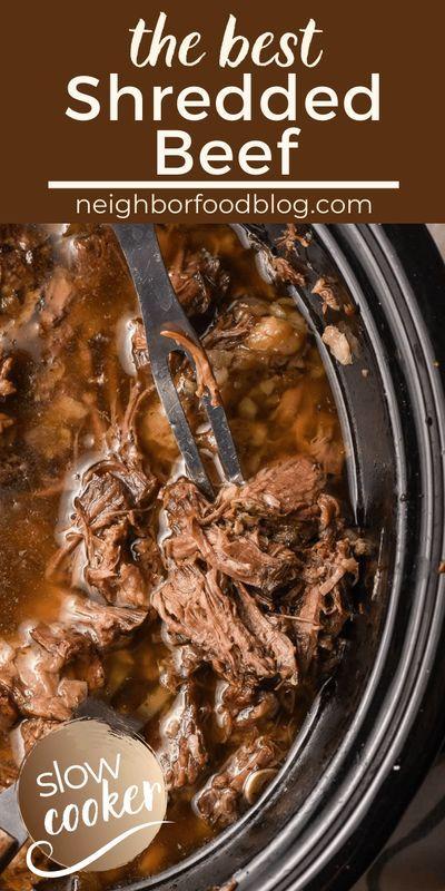 The Best Slow Cooker Shredded Beef Recipe Shredded Beef Recipes Crockpot Recipes Beef Slow Cooker Shredded Beef