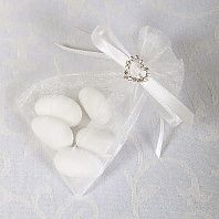 Ready Made Organza and Diamante Pouch In White