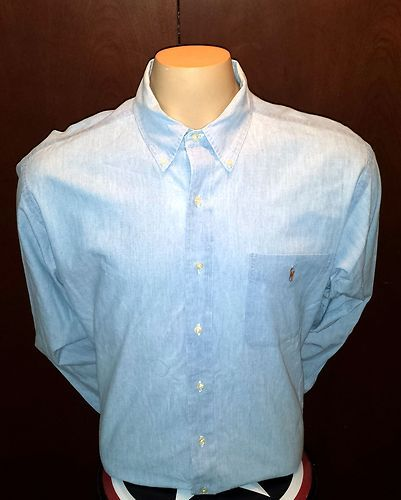 Ralph Lauren Classic Fit Blue With Logo Pony SZ XL Shirt Button Front top