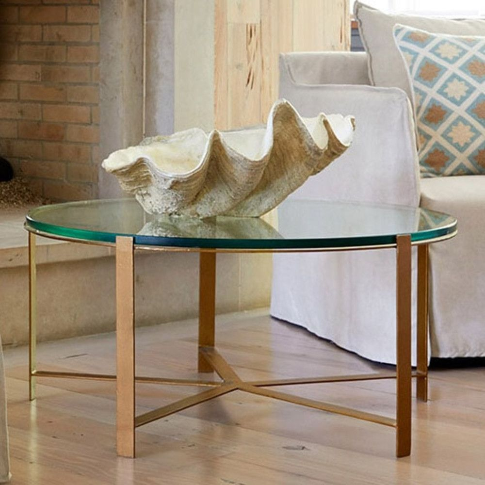 Minimalist Brass & Glass Coffee Table