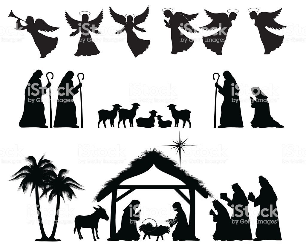 Christmas Nativity Silhouette ZIP contains AI format PDF and jpeg