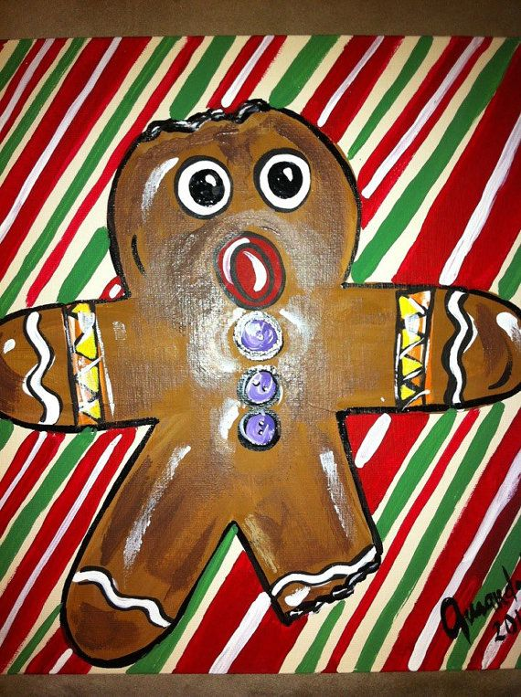 Christmas Gingerbread Man Christmas Art Holiday by