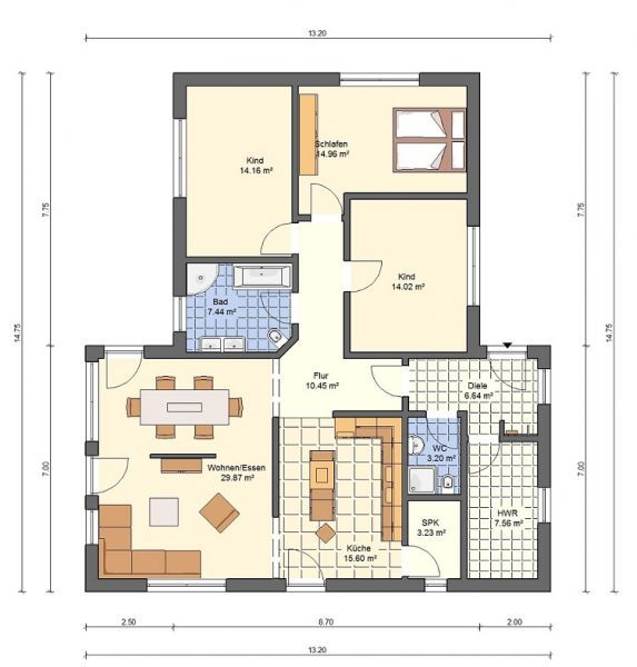 Bgxxl1 bungalow grundriss 140qm 4 zimmer d m in 2019 for Bungalow grundriss 140 qm