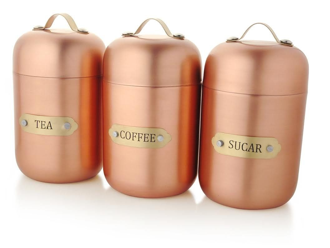 Francois et Mimi Stainless Steel Sugar Tea Coffee Canister Set