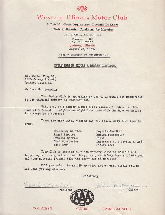 Western Illinois Motor Club Aaa Quincy Il Letter 1929 Membership
