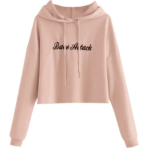 60067aab193 Cropped Letter Embroidered Hoodie Pink S ($26) ❤ liked on Polyvore  featuring tops, hoodies, zaful, cropped hoodies, embroidered hooded  sweatshirts, ...
