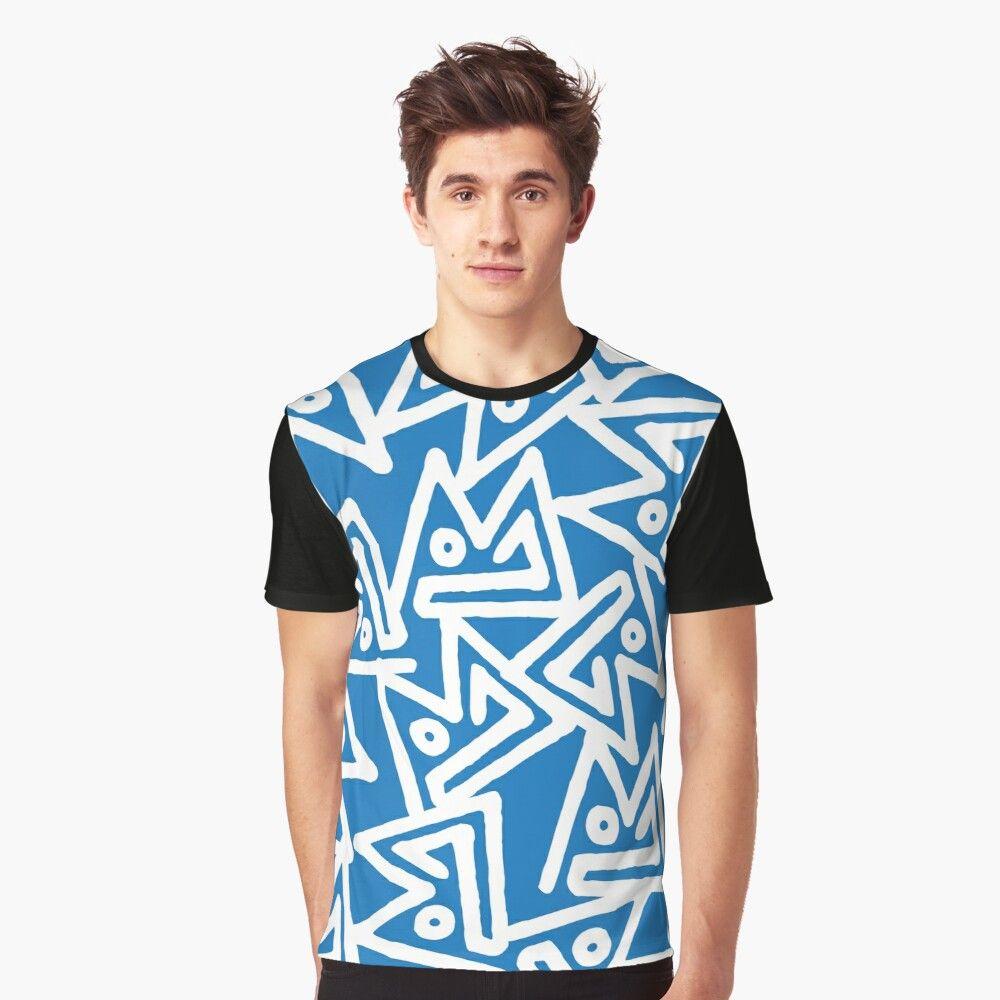 dark blue and white graphic tee