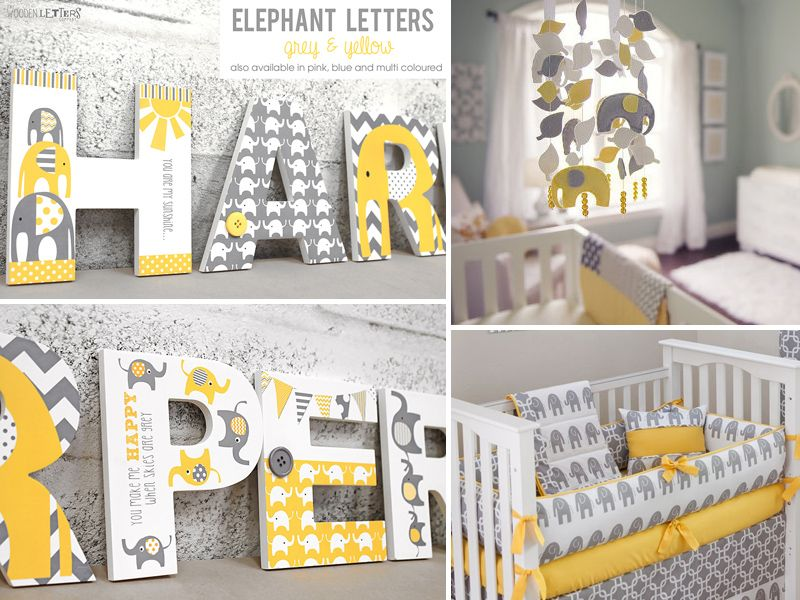 Yellow Grey Elephant Nursery Letters