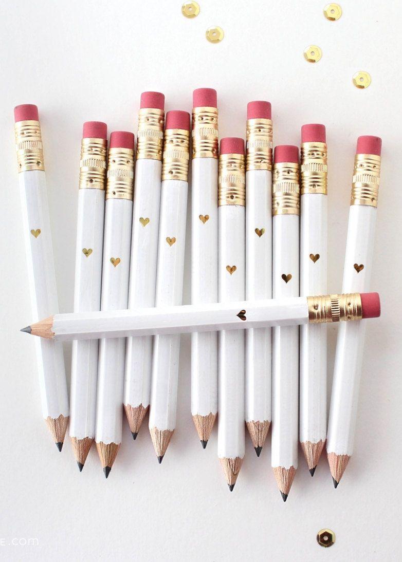 POP FIZZ CLINK Gold Foil White Mini Pencils // Bridal Shower Party ...