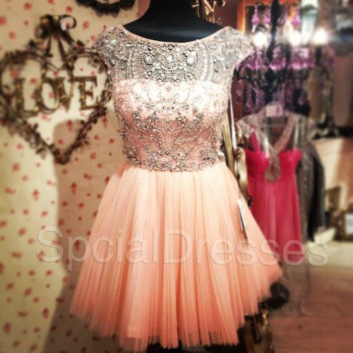 Fantastic Beaded Ball Gown Round Neckline Mini Tulle Homecoming Dress/ Prom Dress